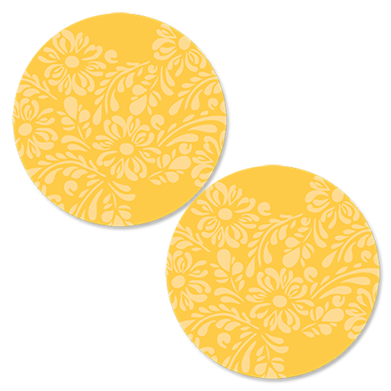 Damask Yellow Round