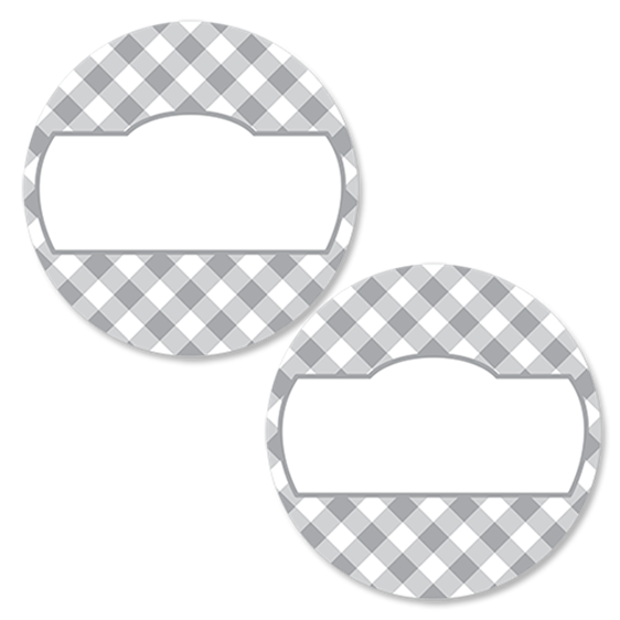 Gingham Pewter Round