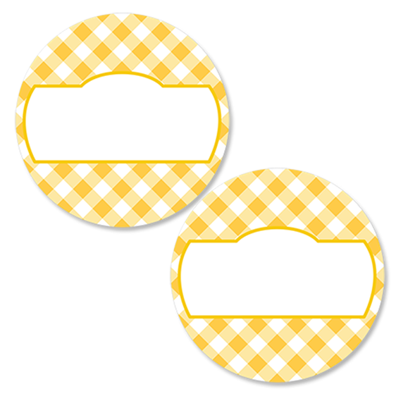 Gingham Yellow Round